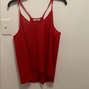 Red open back tank